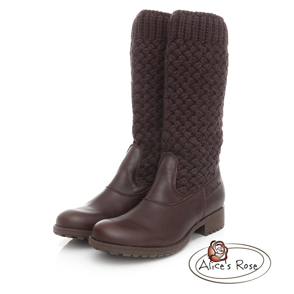 Alice's Rose 針織襪套長筒靴-咖啡色