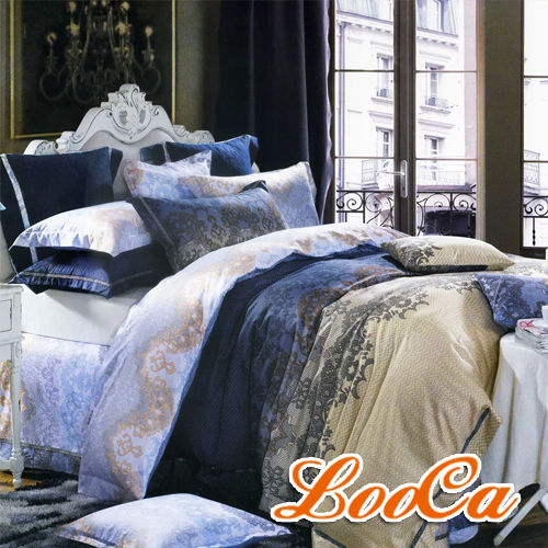 【LooCa】法式佩拉傑爾絲光精梳棉四件式寢具組(雙人)