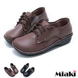 【Miaki】MIT 樂活經典綁帶圓頭平底包鞋休閒鞋 (咖啡 / 黑色)