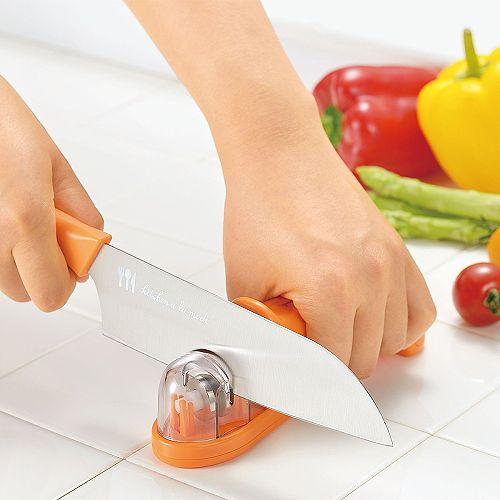 【日本Shimomura】OL專用金剛石三用漾彩磨刀器(鮮紅橘) 日本製造