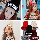 【PS Mall】韓版秋冬 NEW YORK毛線帽刺繡針織帽 (G1715)