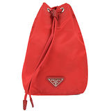 PRADA 經典三角LOGO尼龍帆布束口萬用包/化妝包.紅