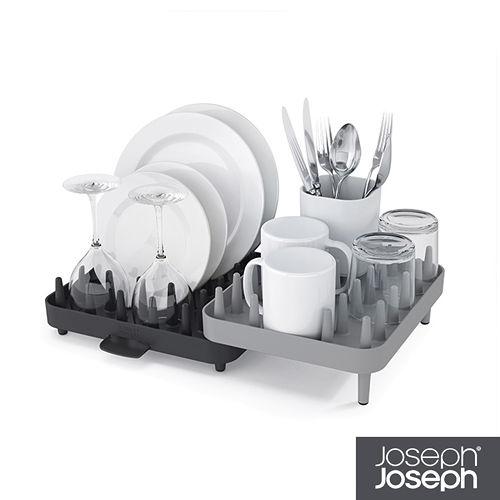 Joseph Joseph英國創意餐廚★ 可調式碗盤瀝水架三件組(灰)★85035