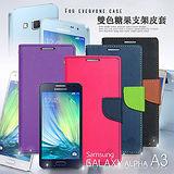 M-style 三星 SAMSUNG Galaxy A3 SM-A300 雙色糖果 斜紋側翻手機皮套