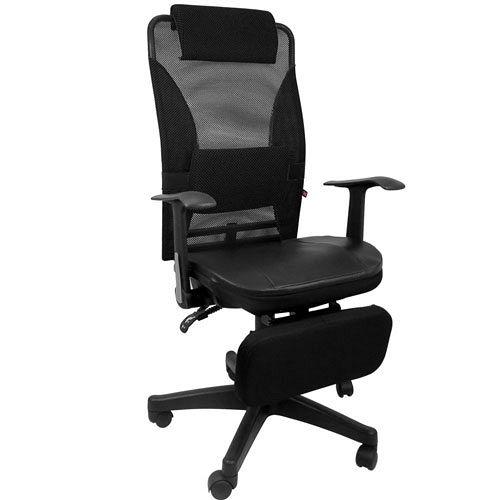 《邏爵辦公家具》夏冬兩用專利置腳台全網+皮墊椅/電腦椅/辦公椅/全網椅/皮椅 四色