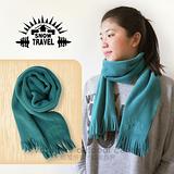 【SNOW TRAVEL】高級保暖透氣圍巾/下擺流蘇設計.高透氣.保暖/藍綠色 VO-30