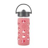 美國唯樂Lifefactory 繽紛彩色玻璃水瓶-吸管350ml珊瑚紅 LF284043