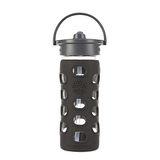 美國唯樂Lifefactory 繽紛彩色玻璃水瓶-吸管350ml黑色 LF284040