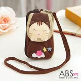 【ABS貝斯貓】害羞星星貓咪綿布收納包 小提包 手機袋(咖啡88-188)