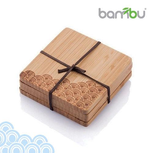 【Bambu】童趣圖紋竹杯墊-復刻海浪(4塊組)