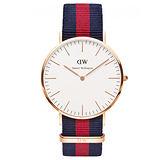 Daniel Wellington Oxford時尚男錶-/玫瑰金框/藍紅寬帶0101DW