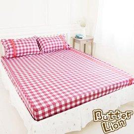 奶油獅 100%精梳純棉床包二件組(紅) 單人3.5尺