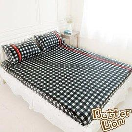 奶油獅 100%精梳純棉床包二件組(黑) 單人3.5尺