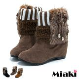【Miaki】韓流時尚內增高短靴雪靴 (卡其 / 黃色 / 黑色)