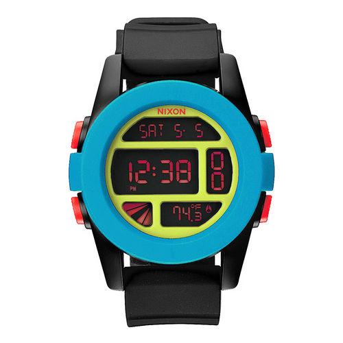 NIXON The UNIT率性概念雙時區運動錶-藍框紅字x黑膠帶