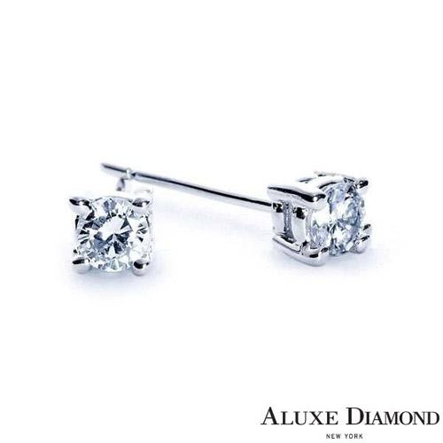 A-LUXE  亞立詩鑽石 簡約時尚 四爪鑽石耳環