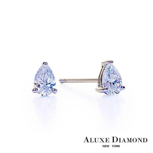 A-LUXE  亞立詩鑽石 時尚梨形單顆美鑽耳環