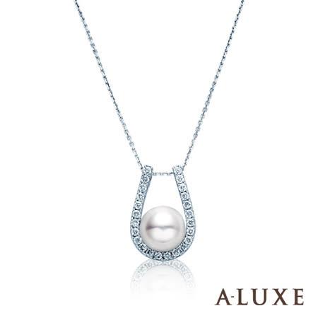 A-LUXE 亞立詩 8mm天然珍珠美鑽項鍊