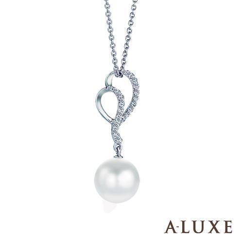 A~LUXE 亞立詩鑽石 8~8.5mm天然養珠珍珠美鑽項鍊