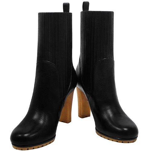 GUCCI 黑色真皮時尚高跟短靴-39.5號