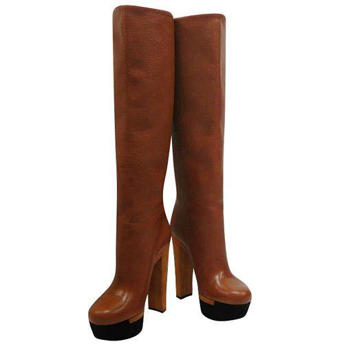 GUCCI 焦糖色真皮厚底時尚高跟長靴-36.5號