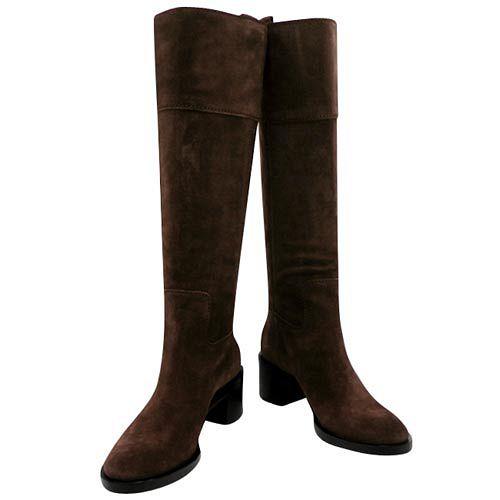 GUCCI 巧克力色麂皮時尚長靴-39.5號