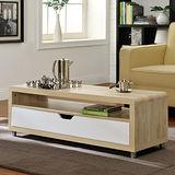 【Yomei】大抽屜收納茶几桌/邊桌/電視櫃(淺橡+白色)
