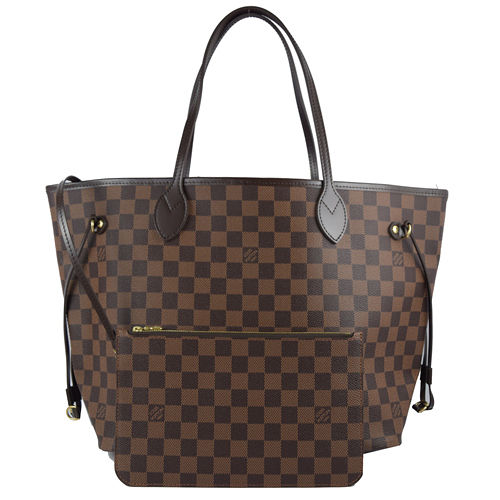Louis Vuitton LV N41358 NEVERFULL MM 棋盤格紋子母束口購物包.中_預購