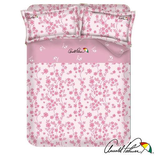 【Arnold Palmer雨傘牌】粉嫩花蹤-40紗精梳純棉床包被套雙人四件組.