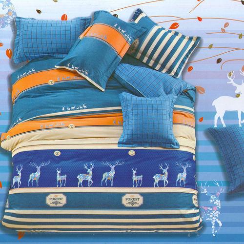 FOCA《麋鹿奇航》加大100%精梳棉四件式舖棉兩用被床包組
