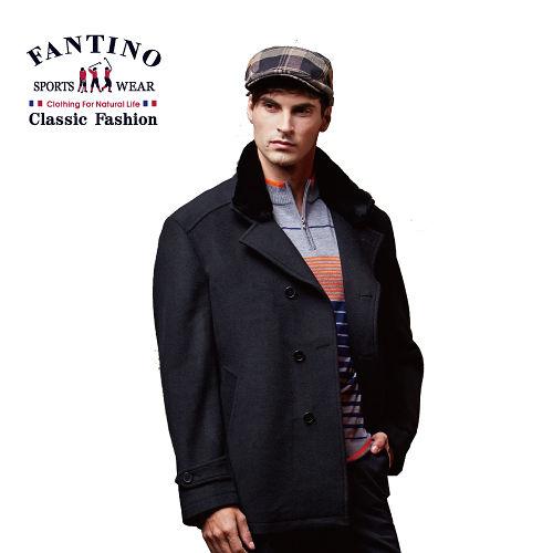 【FANTINO】男裝 帥氣修身保暖羊毛外套 (黑) 445304