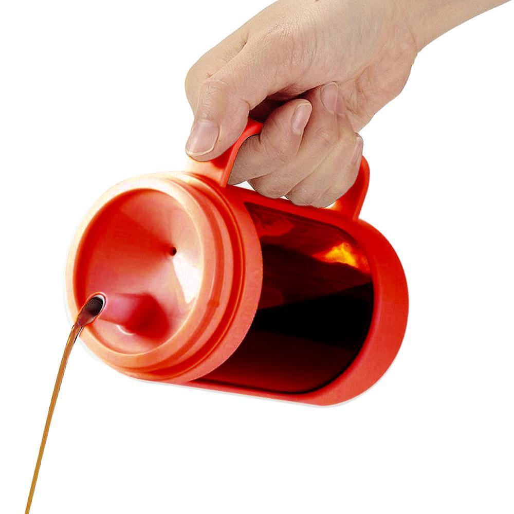 ASVEL油控式350ml調味油手提玻璃壺 紅色