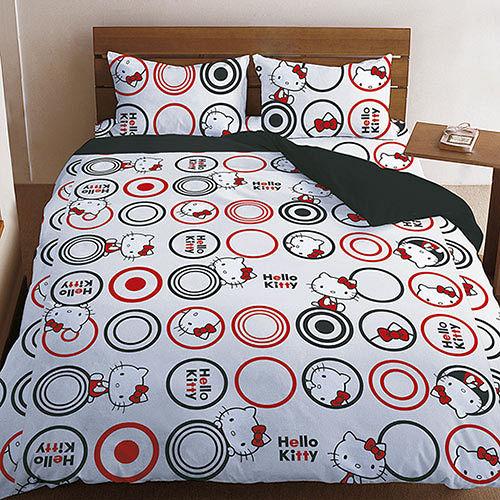 【享夢城堡】HELLO KITTY我愛普普系列-雙人純棉四件式床包兩用被組(黑)