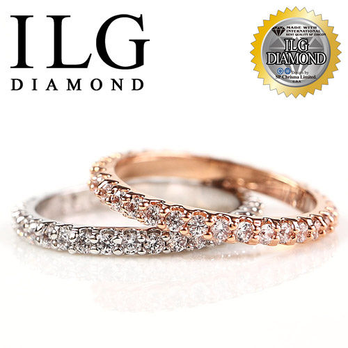 【ILG鑽】頂級八心八箭擬真鑽石戒指-整圈鑽線戒 18K白K/玫瑰金 紀念日生日禮物