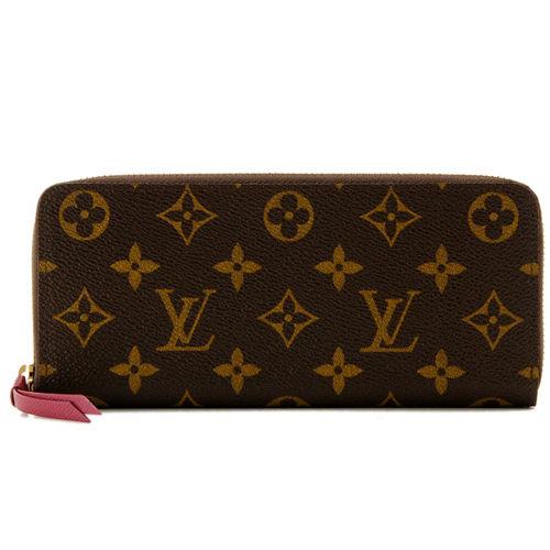 Louis Vuitton LV M60742 CLEMENCE 經典花紋拉鍊長夾.紫紅_現貨