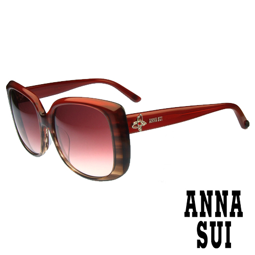 Anna Sui 日本安娜蘇 復古時尚大理石紋半透框面造型太陽眼鏡 (紅) AS849-204