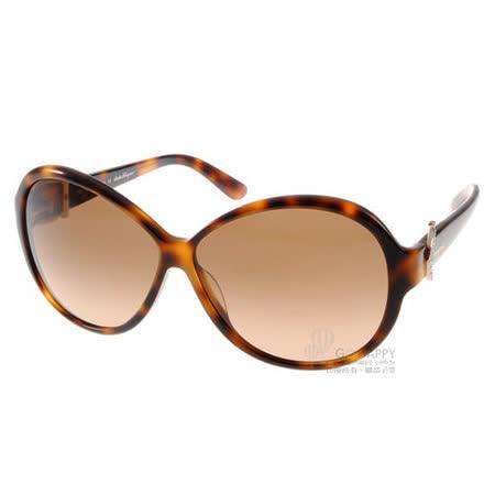 Salvatore Ferragamo太陽眼鏡 水鑽馬蹄扣# SF611SR 214 義大利高級工藝-琥珀