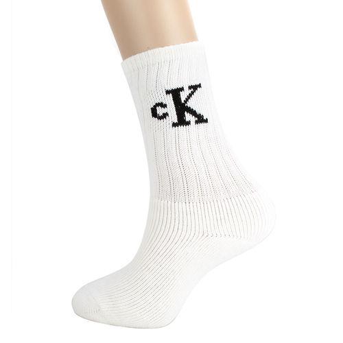 Calvin Klein CK 經典LOGO刺繡厚棉襪-白色