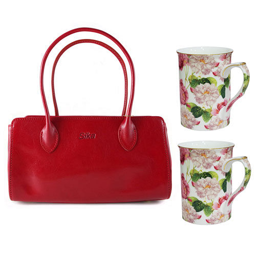 Sika義大利時尚真皮雙帶小提包M6037-04/魅惑紅+【花榭舞影】2入骨瓷花茶杯組GW-705