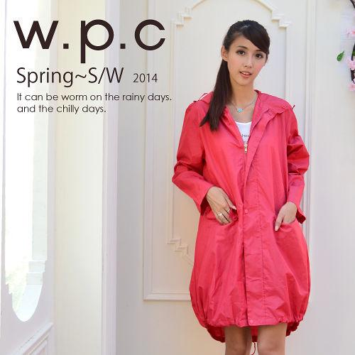 日本狂賣【w.p.c.】束口綁繩款。時尚雨衣/風衣(R1003)-桃紅