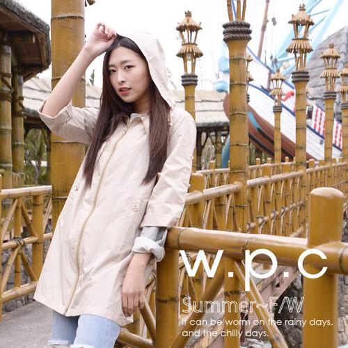 【w.p.c.】2 way袖子可折。時尚雨衣/風衣(R9001)_卡其