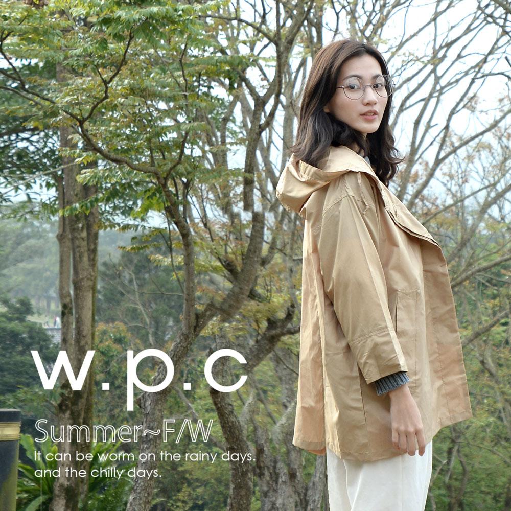 【w.p.c】寬版七分袖。時尚雨衣/風衣(R1017)_卡其