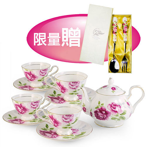 G&W秘密花園午茶組含1壺+4杯4盤+限量贈-紅玫瑰1叉+1匙