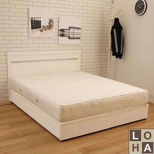【LOHA】品味生活5尺雙人兩件式-銀條床片+床底(共四色)