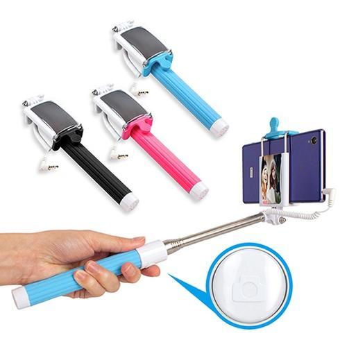 線控 七段式伸縮折疊迷你手機自拍架+自拍鏡 免藍芽配對
