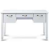 日式量販 典雅彩繪設計4.3尺純白書桌