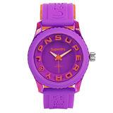 Superdry極度乾燥 Tokyo系列炫彩視覺運動腕錶-橘x紫x小