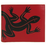 agnes b 滿版雙色蜥蜴短夾(附零錢袋)(紅)