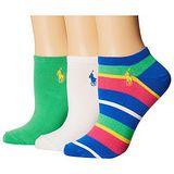 Ralph Lauren 2015女馬球腳踝綠藍遊艇條紋短襪混搭3入組【預購】