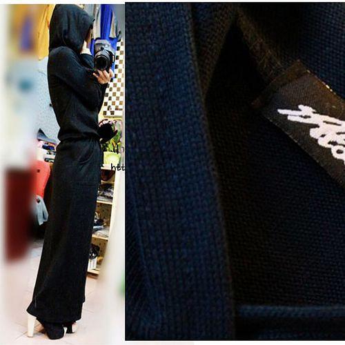 【Maya Girl】 (M~L)秋冬針織綿料 長袖綁帶黑色收腰連帽款 美式休閒連衣長袖